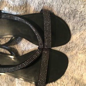 Express Shoes - Express Rhinestone Black Sandals